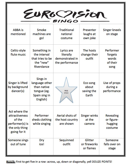 Eurovision bingo cards template solutioingenieria Image collections